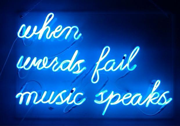when words fail music speaks display real glass neon light sign