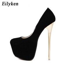 Женские свадебные туфли-лодочки Eilyken, простые туфли из флока на очень высоком каблуке 16 см для зачистки