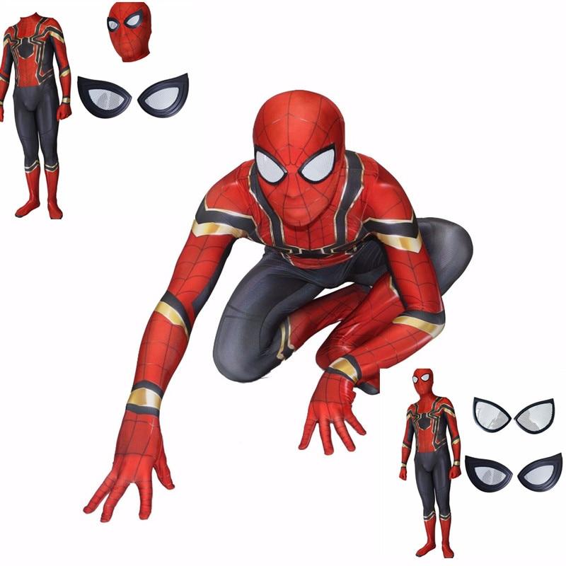 Spider-man Costume Halloween 3D digital printing Party Zentai Suit Steel version of Spider I Man Siamese bodysuit Split tights