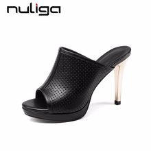 c6fbe6ff5f6 Nuliga pop queen style peep round toe super high thin heels holes slip on  mules natural leather sexy woman stiletto sandals L7f2