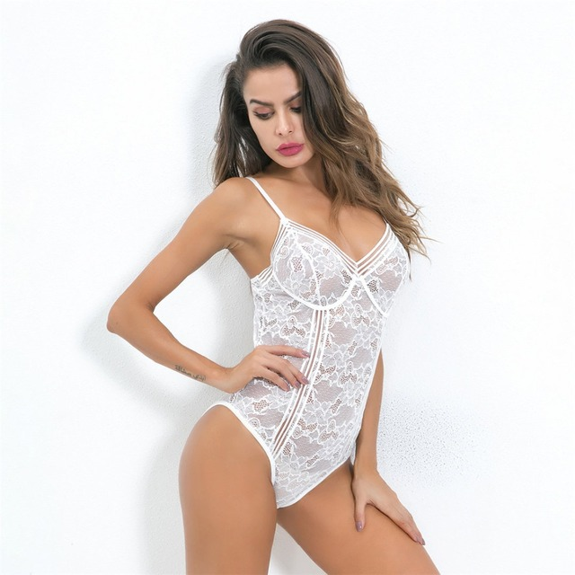 ff6694dfebd White V neck transparent mesh plunge lace bodysuit sexy bodycon jumpsuits  for women 2018 hot teddy catsuit body mujer LNE90. 1 order