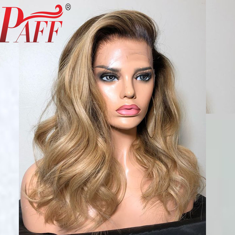 PAFF Ombre 1B/27 Lace Front Human Hair Wigs With Baby Hair Brazilian Natural Wave Remy 13*3.5 Lace Front Wig Bleached Knots