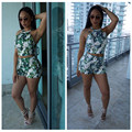 Summer Hot Sale 2 piece set women Short suit Banana Leaf Printed Halfer Tank Top+Shorts Suits Sexy Lady Beachwear Vacation Suit