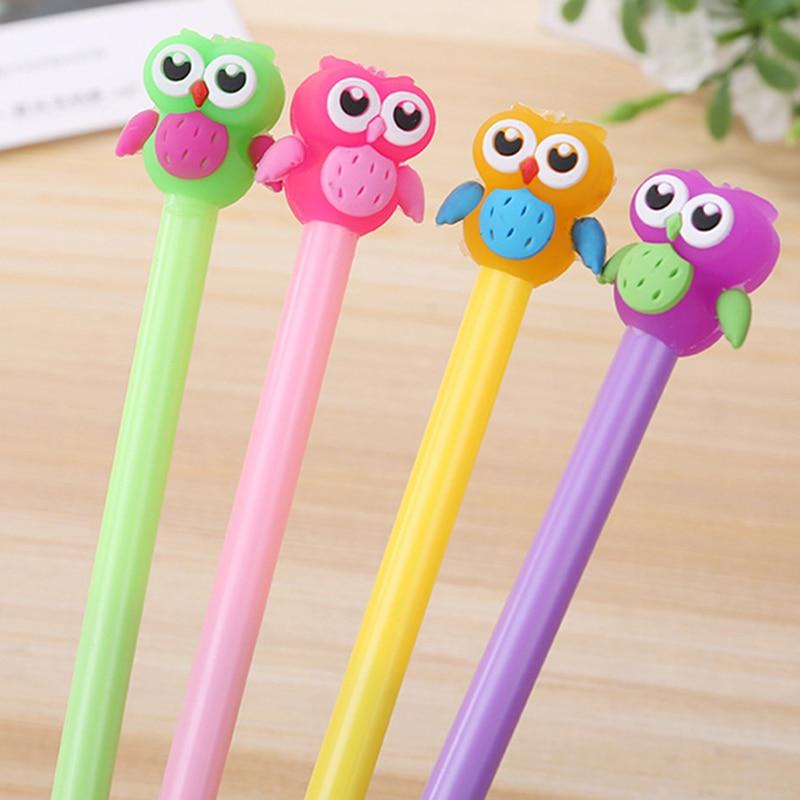 1 Pcs Cartoon Cute Owl 0.5mm Gel Pen Student Animal Kawaii School Writing Supplies Escolar Office Signature Pens Stationery