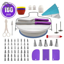 106pcs Cake Decorating Supplies Sets with Icing Tips Pastry Bags, Smoother, Piping Nozzles Coupler DIY Baking Tools