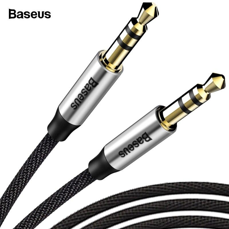 Baseus 3.5mm Jack Cabo De Áudio Jack de 3.5mm Macho para Macho de Áudio Aux Cabo Para Samsung S10 Carro Fone De Ouvido orador Fio Linha de Cabo Aux