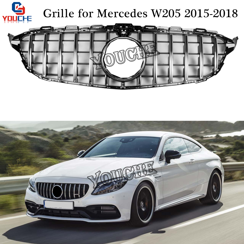 Us 64 89 10 Off W205 Front Hood Grill For Mercedes C W205 Amg Package C180 C200 C250 C300 C350 2015 2018 Gt Diamond Amg Style Grille In Racing