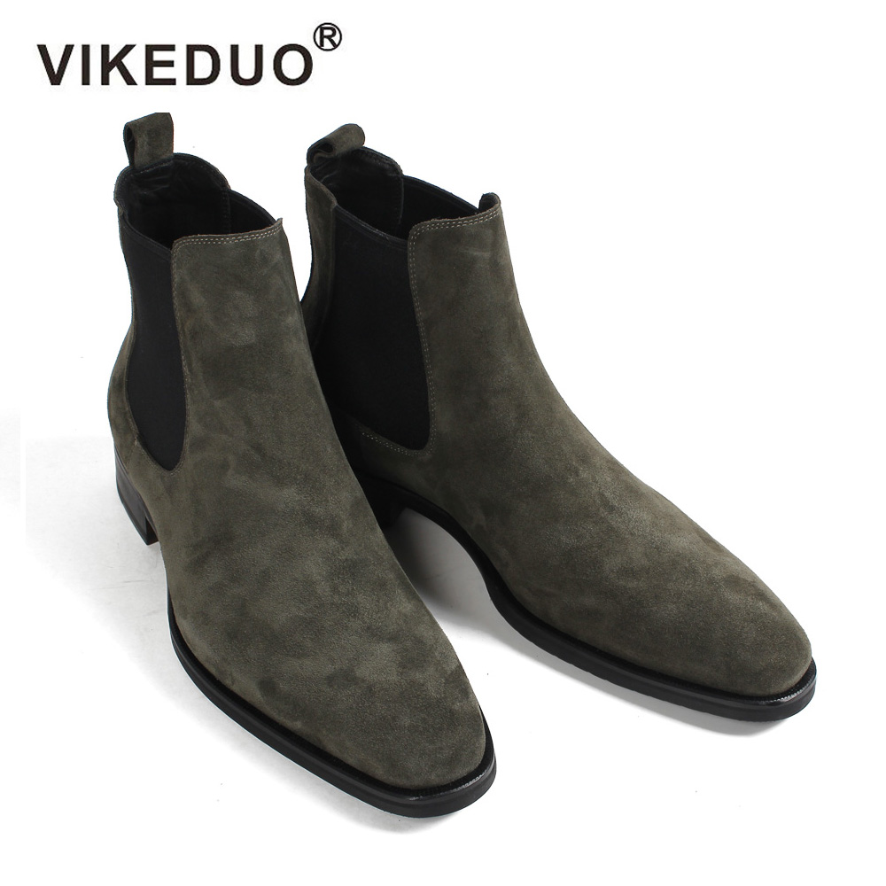 VIKEDUO 2019 Hot Fashion Chelsea Boots Men Suede Autumn Handmade Shoes Male Vintage Green Hiking Ankle