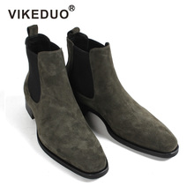 VIKEDUO 2019 Hot Fashion Chelsea Boots Men Suede Autumn Handmade Shoes Male Vintage Green Hiking Ankle Boot Botas Masculino NEW цены онлайн