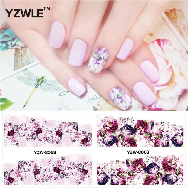 YZWLE 2 Patterns/Set peony and plum flower  Nail Art Water Decals Transfer Sticker YZW-8058&8068