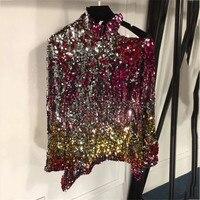 Для женщин Блузка Топы Весна 2018 одно плечо Блузка с длинными рукавами Для женщин Повседневное пайетки блузка