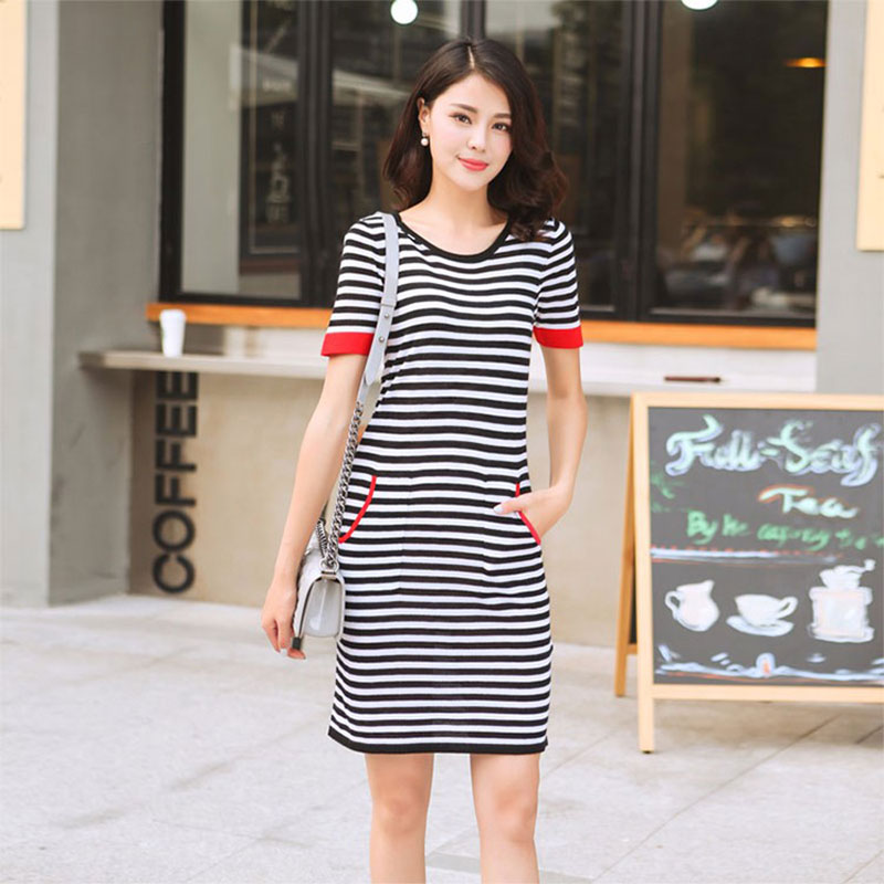 Free Shipping Summer Dress 100 Pure Cashmere Mini Dress Women O neck Short Sleeves Red Cuff