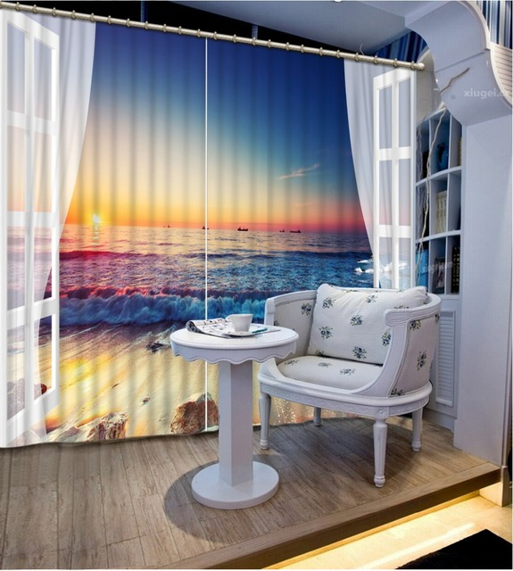 Custom Modern Window Beach Wave Curtains Bedroom Fashion Blackout Curtain  For Living Room Hotel Drapes
