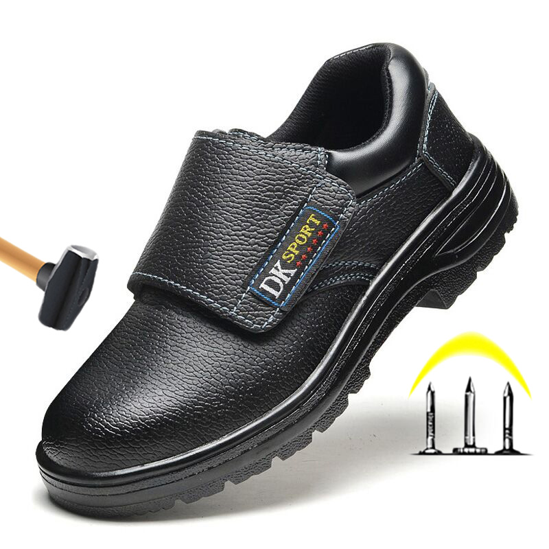 Work Safety Boots Men Shoes Steel Toe Work Boot Slip-on Safety Shoes Male Shoes Adult  Wear-resistant Leather Shoes Plus Size