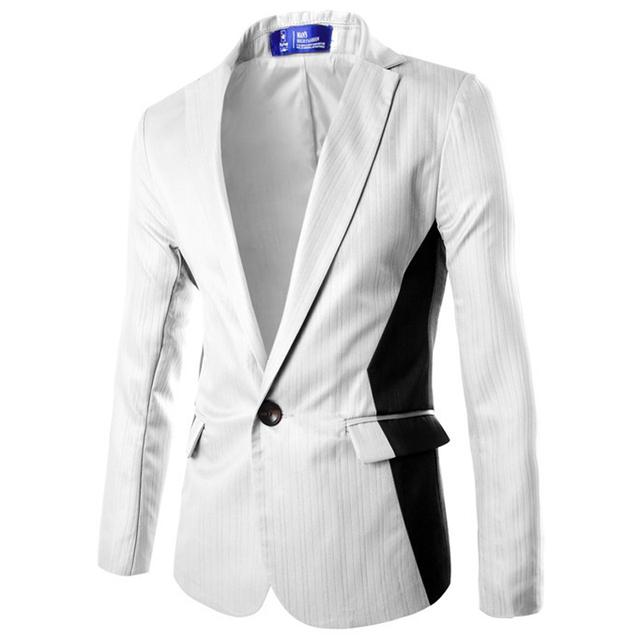 Hombres Chaqueta Blanca 2017 Nueva Llegada de la Primavera Diseño de Un Solo Botón Slim Fit Hombres Chaqueta de Traje Informal Traje de Los Hombres del Homme Veste Blazer
