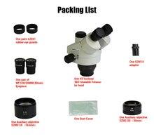 Lucky Zoom Brand Professional 3.5X-90X Trinocular Stereo Microscope Head SZM2.0X SZM0.5X Objective Lens Microscope Accessories