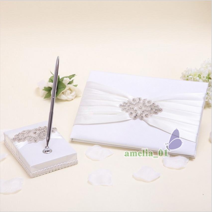 4 pièces/ensemble ivoire Satin cristal mariage livre d'or + stylo ensemble anneau oreiller fleur filles panier - 2