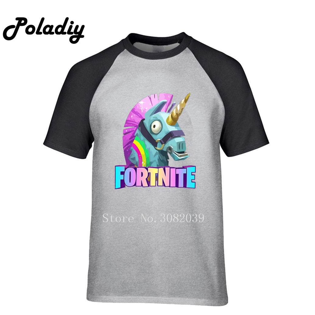 Llama Fortnite Harajuku Raglan T Shirt Men 2018 Summer 100% Cotton O-Neck T-Shirt Fashion Unicorn Men's T-Shirt Dropshipping