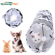 Funny Strip Cat Tunnel Collapsible Toys Play Durable Suede Hideaway Pet Crinkle with Ball