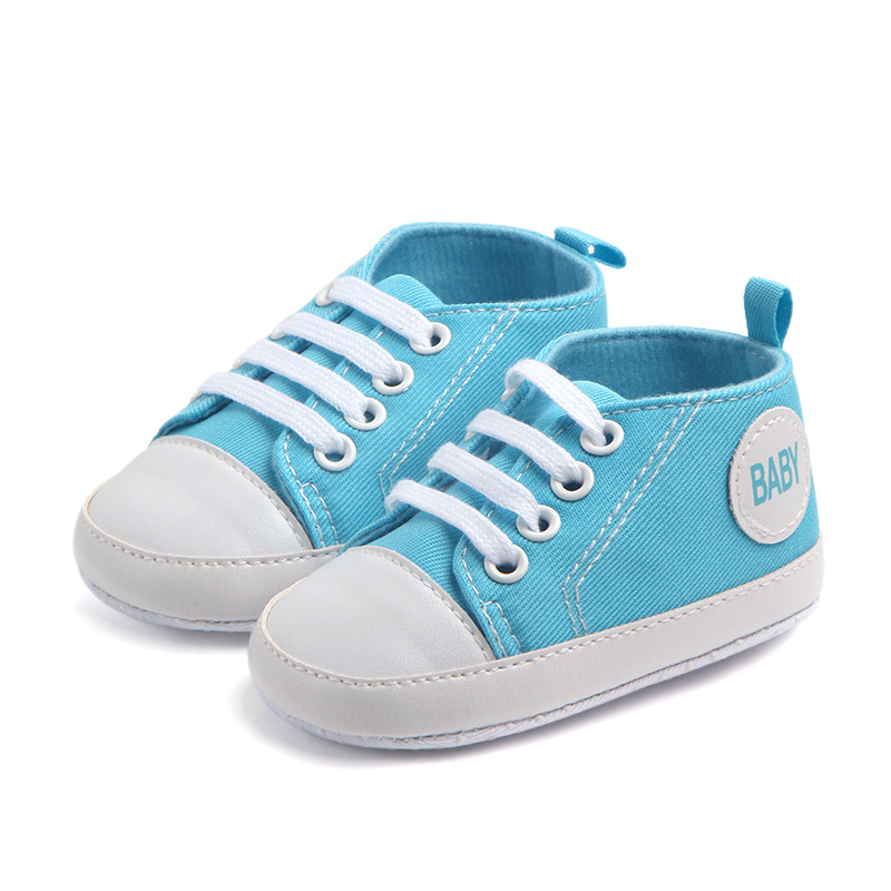 Baby Boy Shoes Newborn Kids Toddlers Canvas Cotton Crib Shoes Lace Up Casual Shoes Prewalker First Walkers