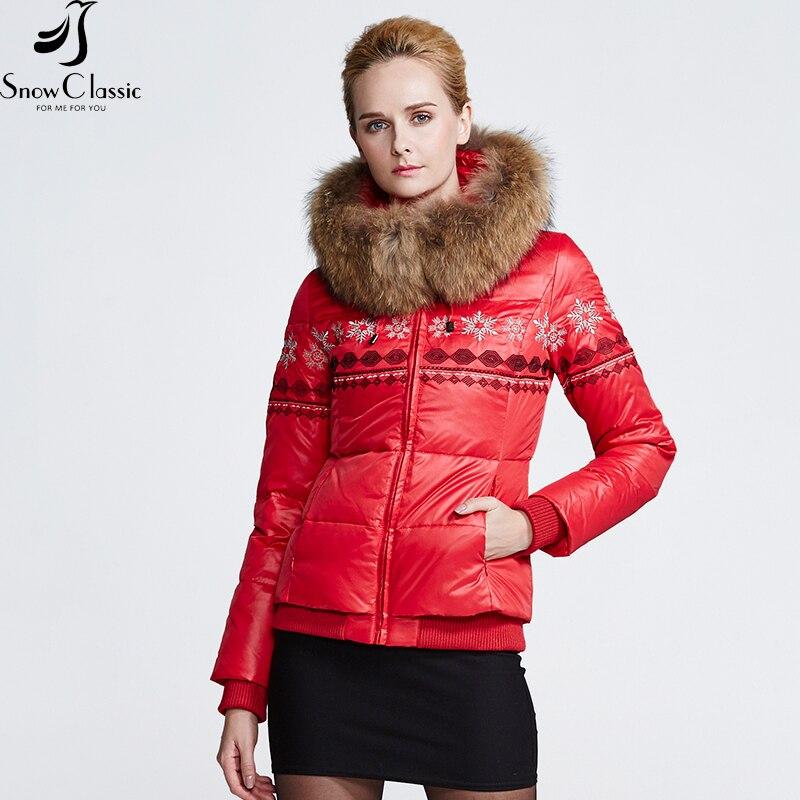 SnowClassic Winter Real Raccoon Fur Collar down Coats parkas Jacket Women 80% white Duck Thick short winter jacket 12446
