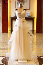Sexy V-neck Vestidos De Fiesta Noche Real Photo Long Elegant Evening Dresses Formal Dress Robe Soiree ES2014