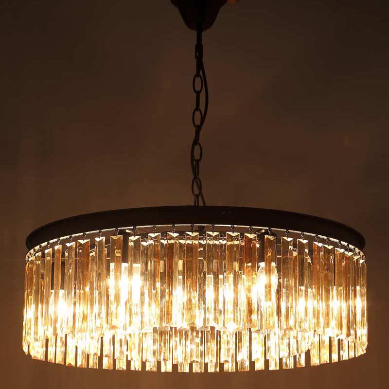 E27 Pays D'amérique Rétro Vintage Ambre Cristal Lampes Suspendues De La Lampe Salon Cuisine Noir Fer Éclairage À La Maison 110-240 v