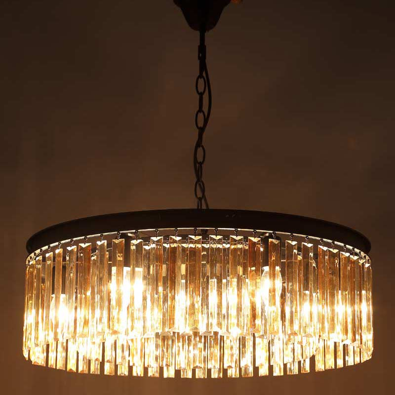 E27 American Country Retro Vintage Amber Crystal Lamp Pendant Lights Living Room Kitchen Black Iron Home Lighting 110 240V