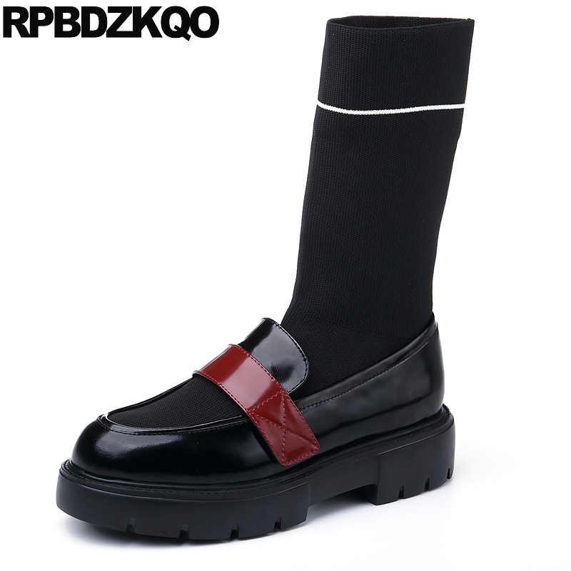 British Patent Leather Black Mid Calf Designer Shoes Women Luxury 2017 Stretch Real Sock Fall Knit Platform Boots Muffin Slip On