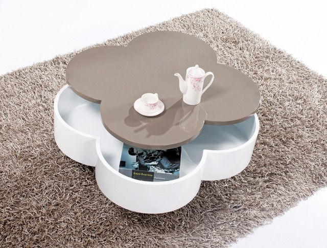 Storage Table, Flower Shaped Specular Paint, with storage functiona and rotate Tea Table, Modern Creative Coffee Table 805