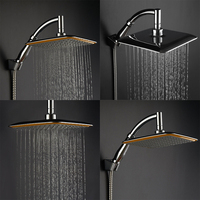 Large Square Shower Head ABS Chrome Water Rains Shower Head With Shower Extension Arm Bathroom Set