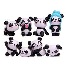 Kawaii 1/8pcs Naughty Panda Action Figures Mini PVC Model Toys For Kids Lovely Anime Animal Cat Birthday Gift  Decor