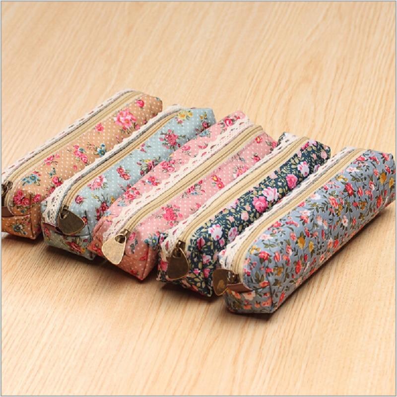 Fresh Style Lace Fringe Little Flowers Multi-function Zipper Pencil Bag Storage Bag Gift Stationery