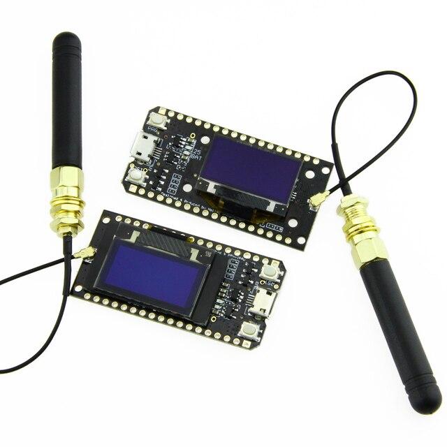 LILYGO®2 pièces TTGO LORA32 V1.0 868/915MHz ESP32 LoRa OLED 0.96 pouces affichage Bluetooth WIFI ESP 32 Module de carte de développement