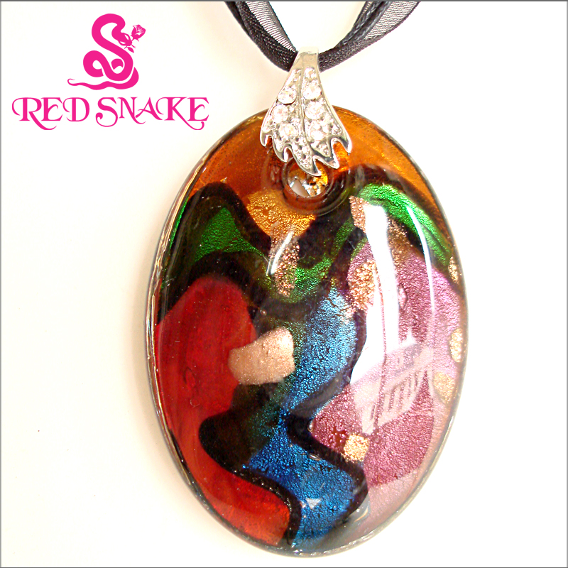 RED SNAKE Murano Glass Necklace abstract Dancer design with brown and purple Ellipse Pendant