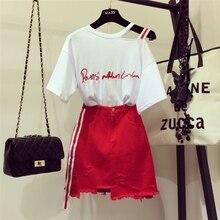 Новинка года; модная женская футболка без бретелек с вышитыми буквами+ красная джинсовая юбка; комплект из двух предметов; повседневная юбка для девочек-школьниц