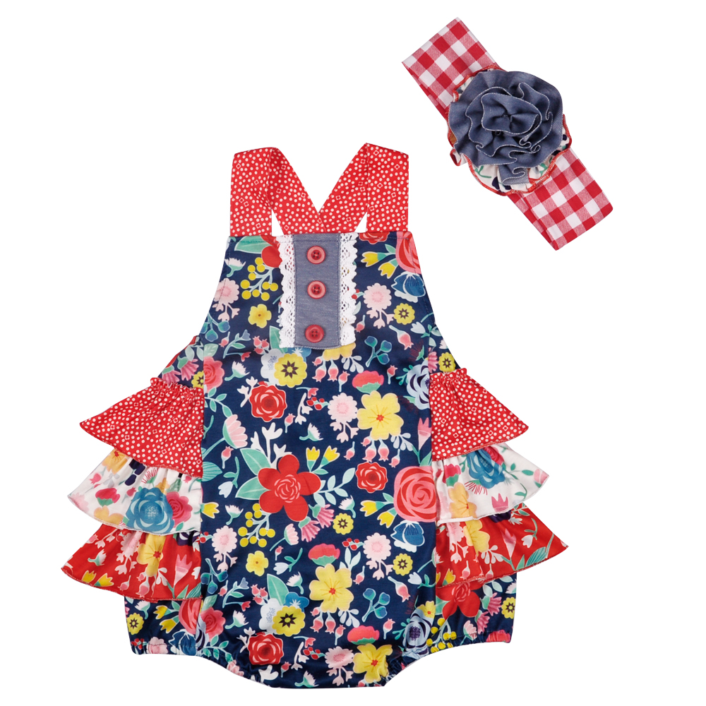 New Arrival Spring And Summer Baby Romper Clothes Red Flower Ruffle Newborn Party Clothes With Headband GPF803-117 ...