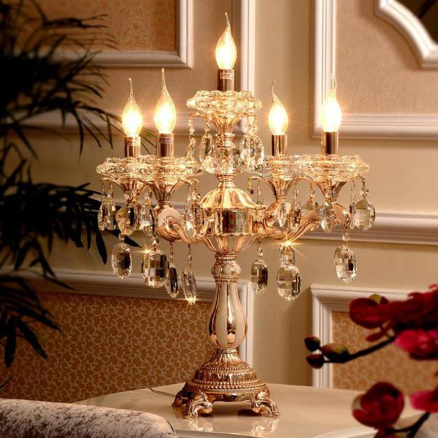 5 Lights Gold Candle Holders Table Lamp Large Wedding