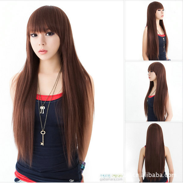 f52452d00 20104 New Fashion Lady's Long Natural Straight Bangs Full Hair Wig Cosplay  Party Wigs Brown Stylish Charming Sexy Wig Womens