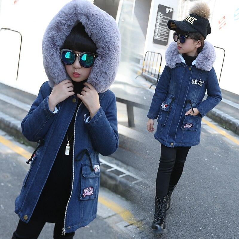 Fashion Children s Costumes Thicken Velvet Winter Girls Jacket Full Sleeve Kids Girls Jeans Coats Denim