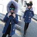 Fashion Children's Costumes Thicken Velvet Winter Girls Jacket Full Sleeve Kids Girls Jeans Coats & Denim Jackets Girls Outfits