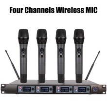 цена на 4 Channel UHF Wireless Microphone System Professional Karaoke Microphone Handheld Condenser MIC for Home Conference Performance