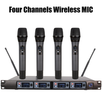 4 Channel UHF Wireless Microphone System Professional Karaoke Microphone Handheld Condenser MIC for Home Conference Performance