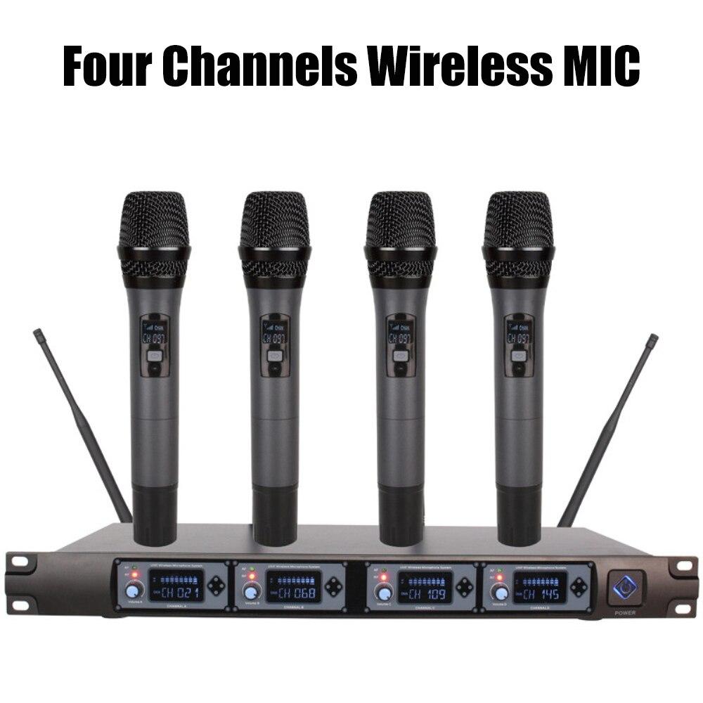 Système de Microphone sans fil UHF 4 canaux Microphone de karaoké professionnel micro à condensateur portable pour les performances de conférence à domicile