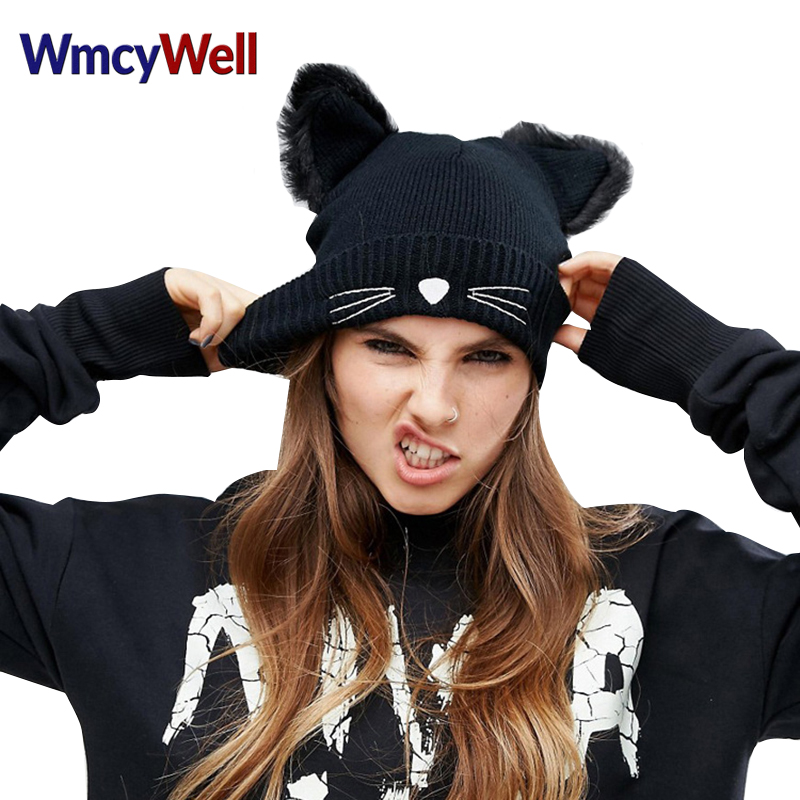 WmcyWell Warm Winter Hat For Women Wool Knitted Cat Ears Faux Mink Solid Skullies Fur Pompom Caps Female Beanies Bonnet Femme wool felt cowboy hat stetson black 50cm