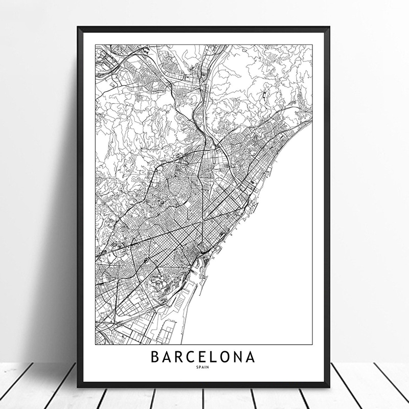 US $11.98  Barcelona Black White Custom World City Map Posters Prints  Nordic Style Wall Art Pictures Home Decor Canvas Painting-in Painting & ...
