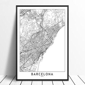 Póster en lienzo con estampado de mapa de ciudades del mundo personalizado en blanco y negro de Barcelona, imágenes artísticas de estilo nórdico para decoración del hogar