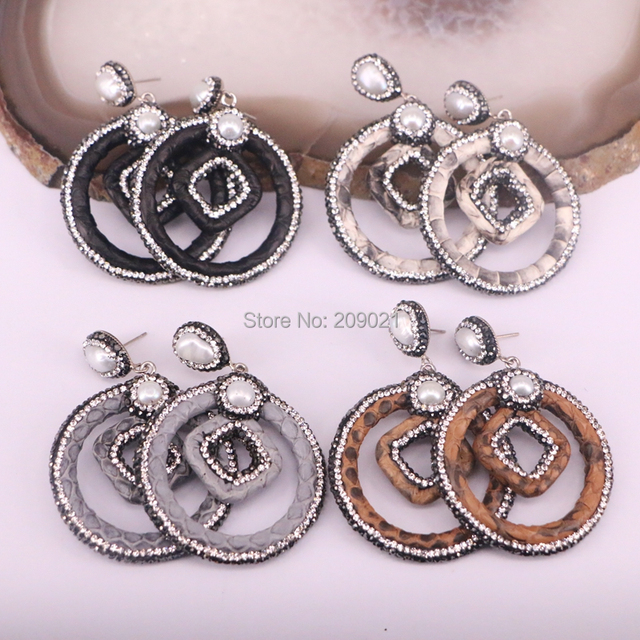 Bohemia 4pairs Pave Rhinestone Pearl Snakeskin Earrings Jewelry Finding In Mixed Color