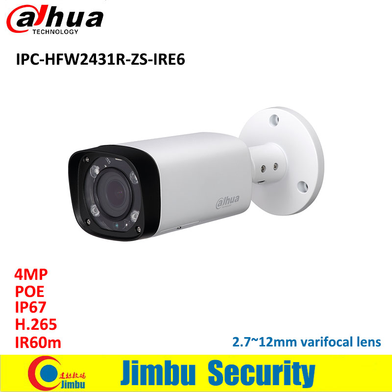 Dahua IP Camera 4MP POE H.265 & H.264 IPC-HFW2431R-ZS-IRE6 2.7~12mm varifocal lens IR60m IP67 Misco SD Card up to 128GB WDR dahua 4mp wdr hdcvi ir bullet cctv camera hac hfw2401r z ire6 ip67 varifocal lens 2 7 12mm motorized lens ir60m smart 120db 3dn