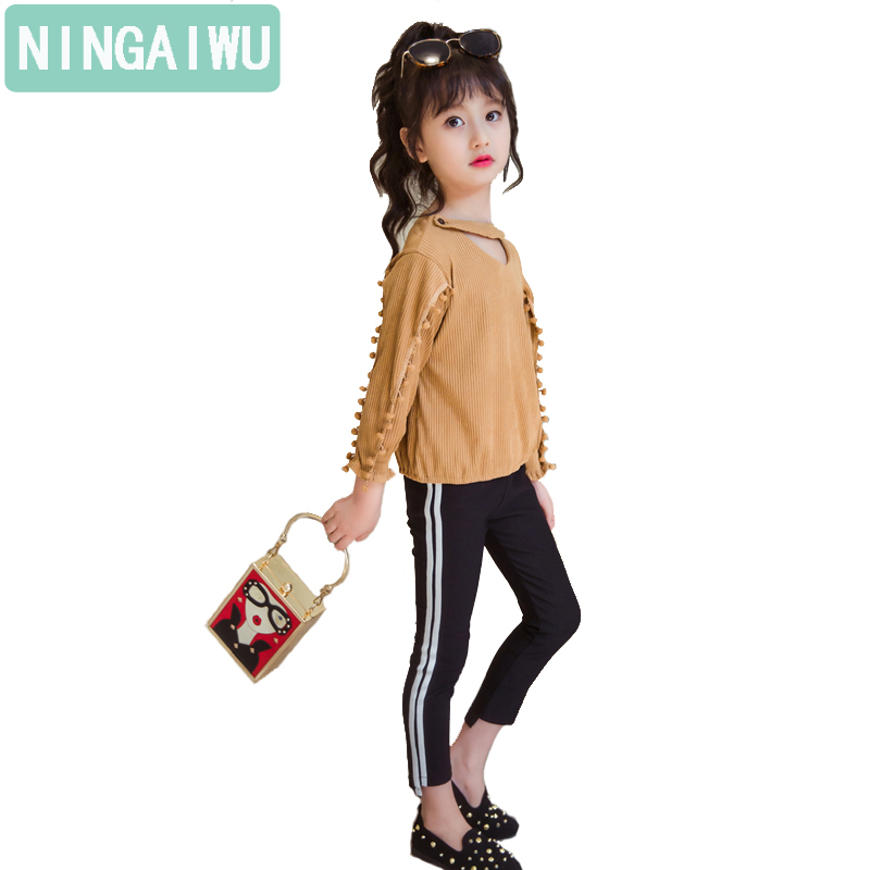 Girl autumn outfit suits new kids sets long sleeves big children's wear spring girl child who two-piece garment fashion movement genuine leather shoes fashion2017 new autumn women wedges shoes high heel platforms for women casual shoes pumps elevator women